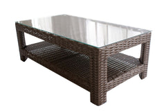 Duxbury Rectangle Coffee Table With Bottom Shelve & Glass Top