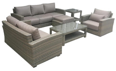 Duxbury Grey Sofa Wicker Set