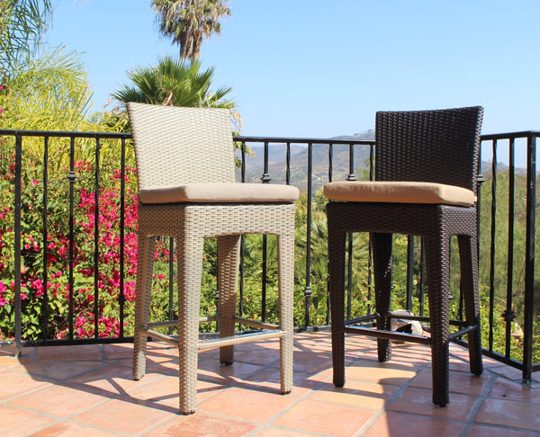 Dola Alta Moderno Outdoor Wicker Bar Stools Euroluxpatio Com