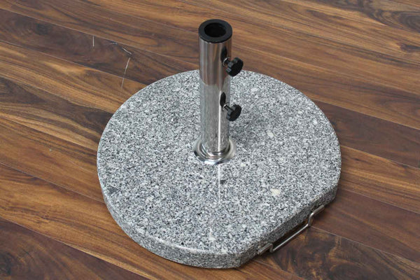Outdoor Round Granite Base with Handle & Wheels 68 Pounds