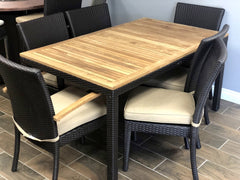 6 person teak wicker dining set