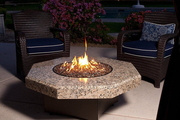 Giallo Fiorito Fire Table Octagon Granite Top
