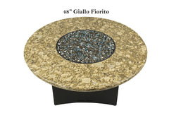 Giallo Fiorito Fire Table Round Granite Top