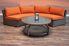 Hampton Wicker 3 Piece Armless Round Sofa Set