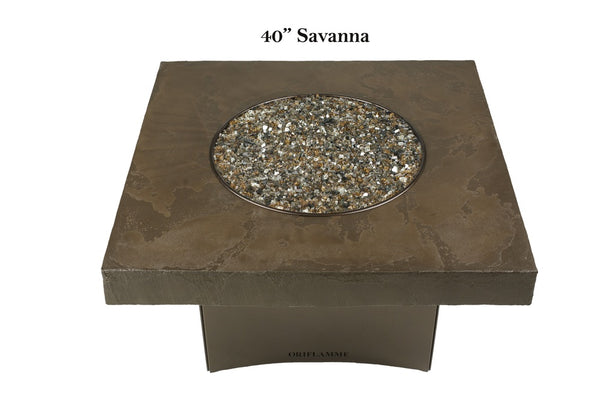 Savanna Fire Table Square Faux With Copper Frame