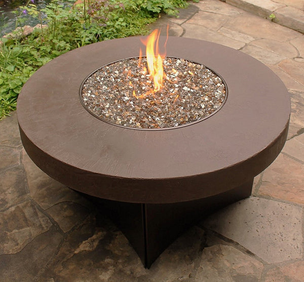 Savanna Fire Table Round Faux With Copper Frame