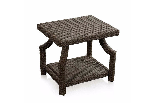Brown Wicker Side Table Multiple Shelves