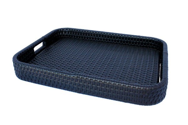 Nero Wicker Serving Tray