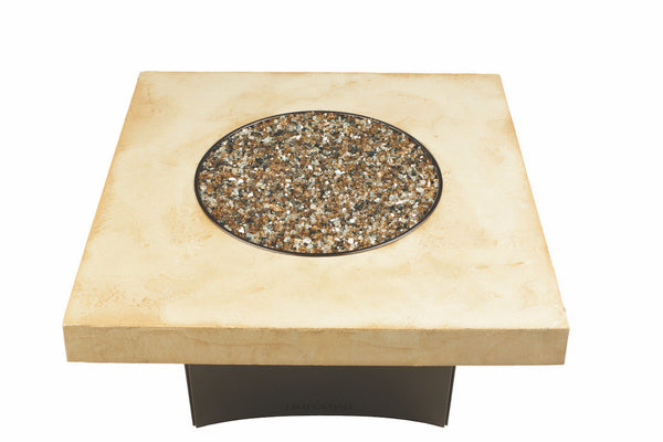 Tuscan Fire table Square Faux Finish With Copper Frame