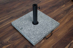 Umbrella Base - Outdoor Square Granite Base With Handle & Wheels 77 Pounds