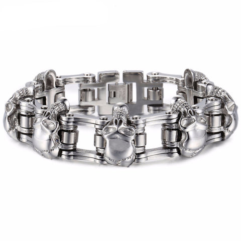 Skulls. On. A. Chain. Motorcycle Bracelet