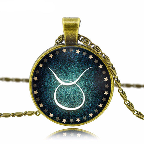 Green Galaxy Antique Bronze Zodiac Necklace