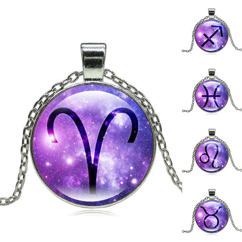 Purple Galaxy Antique Silver Zodiac Necklace