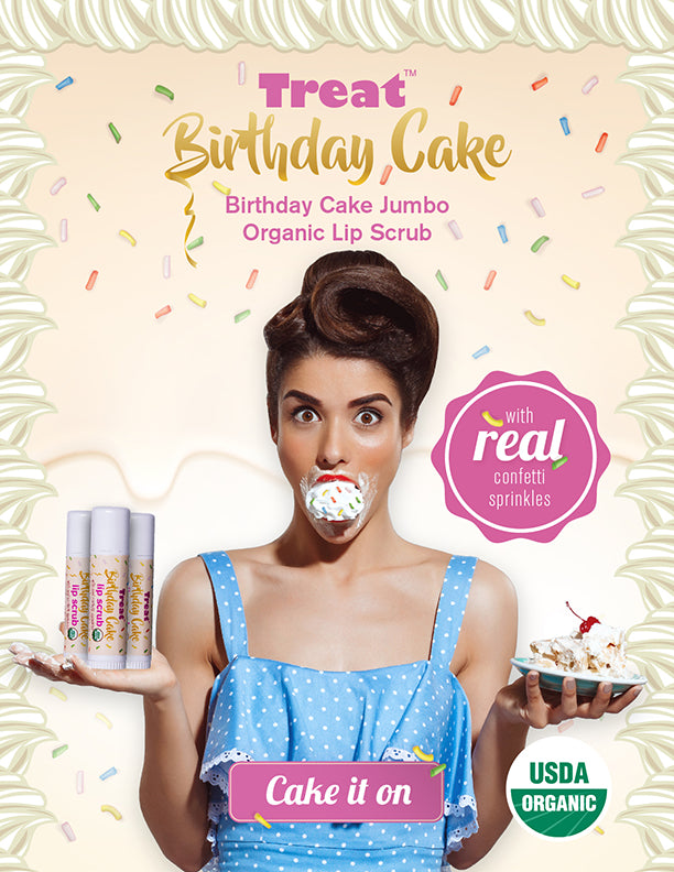 Treat Birthday Cake Lip Scrub with real confetti sprinkles