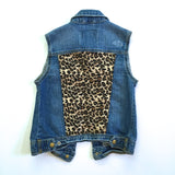 Leopard Distressed Denim Vest
