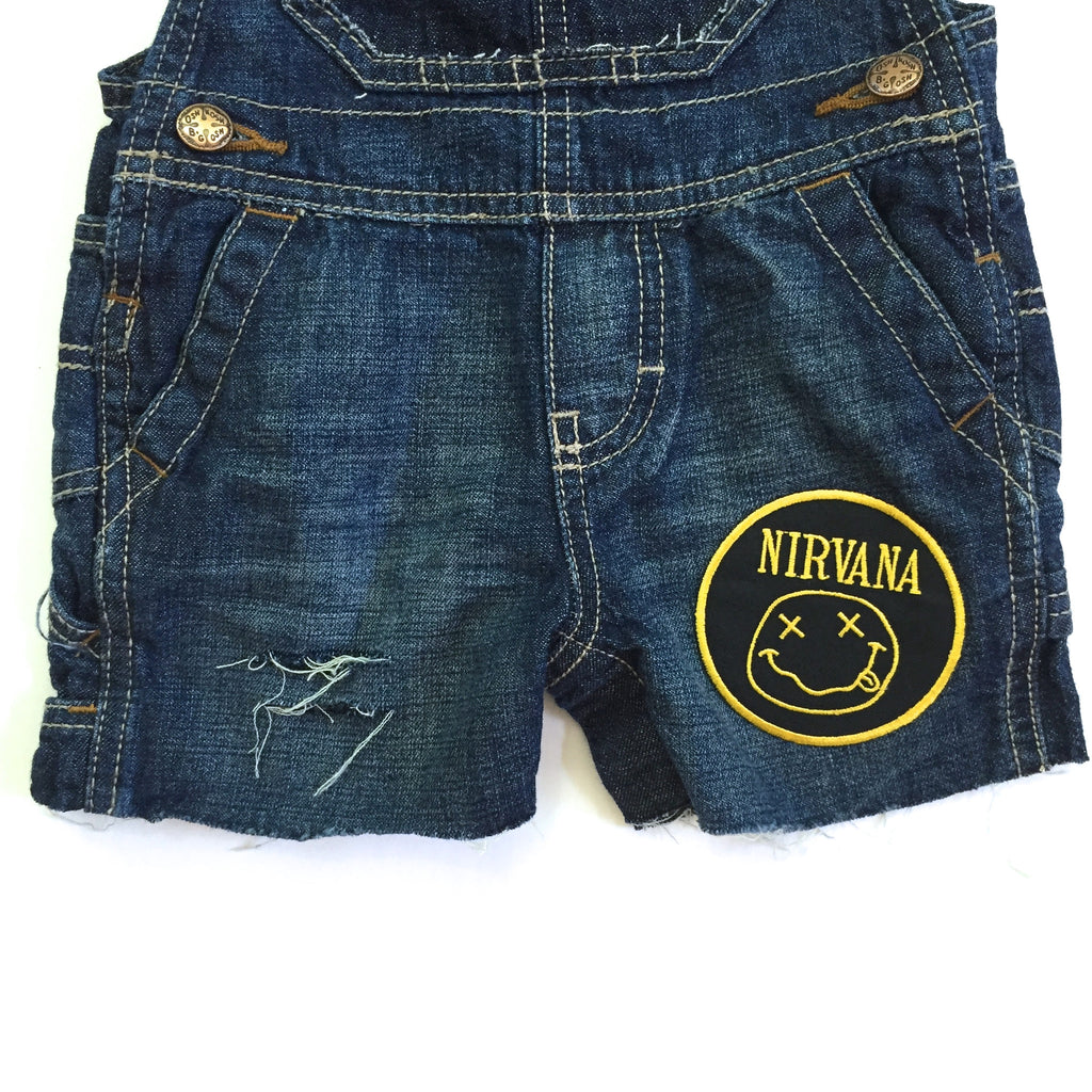 Distressed Nirvana Cut-Off Overalls