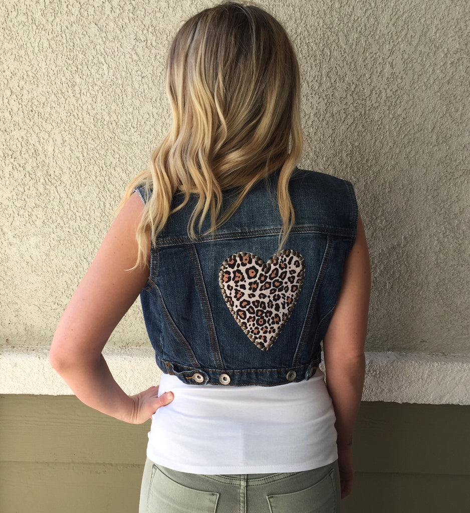 Cropped Denim Vest with Leopard Heart Patch