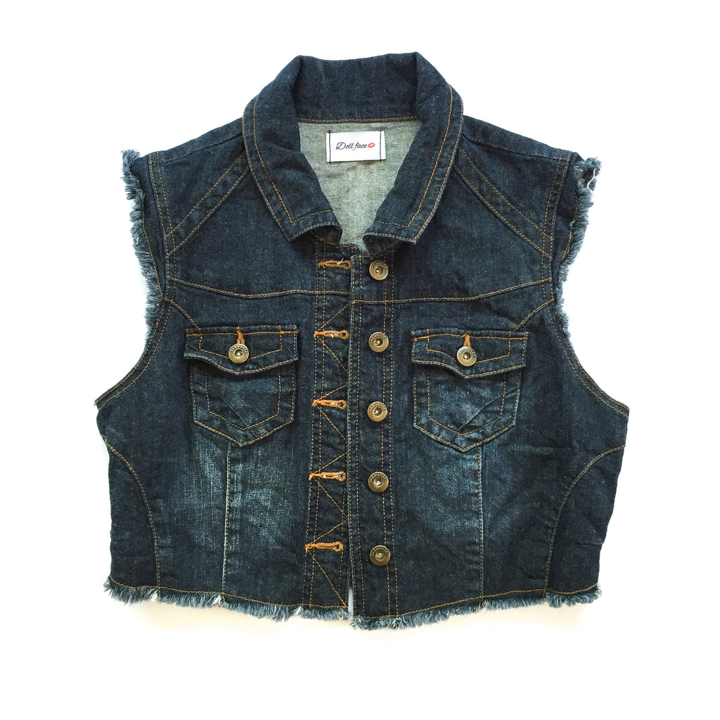 Leopard Cropped Denim Vest