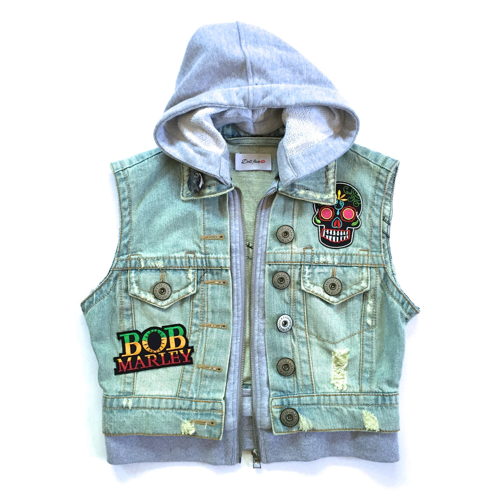 Bob Marley Hooded Denim Vest