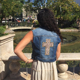 Denim Vest with Leopard Cross Patch