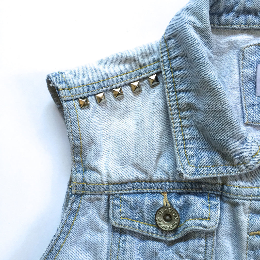 Studded Distressed Denim Vest