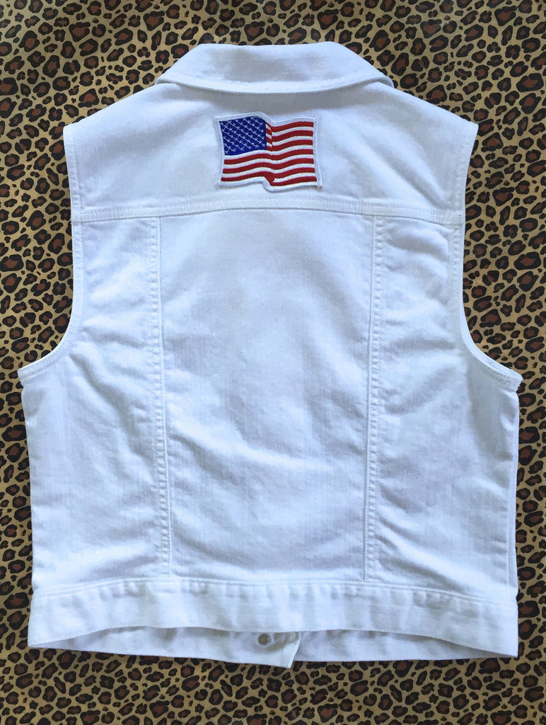 White Denim Vest with american flag patch