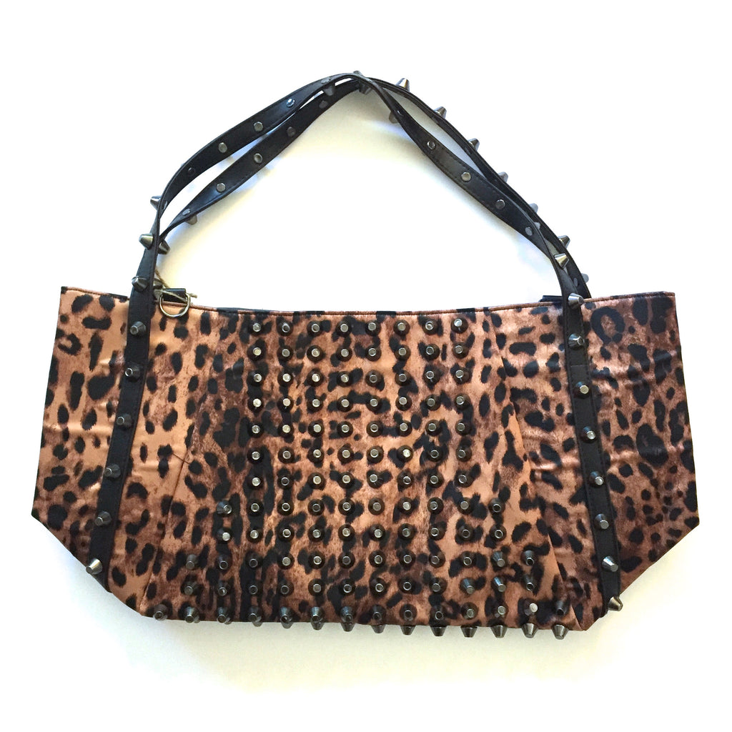 Oversized Leopard Studded Handbag