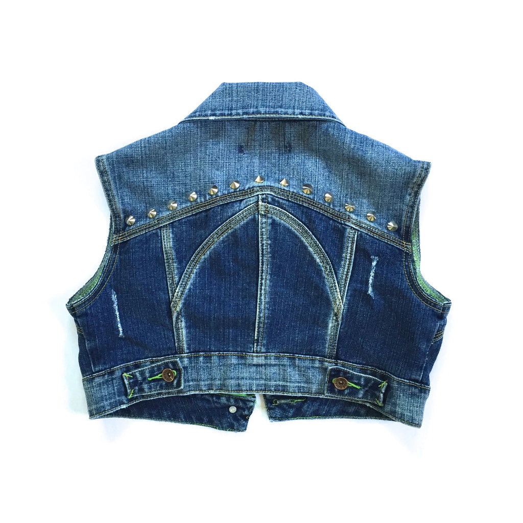 Studded Cropped Denim Vest
