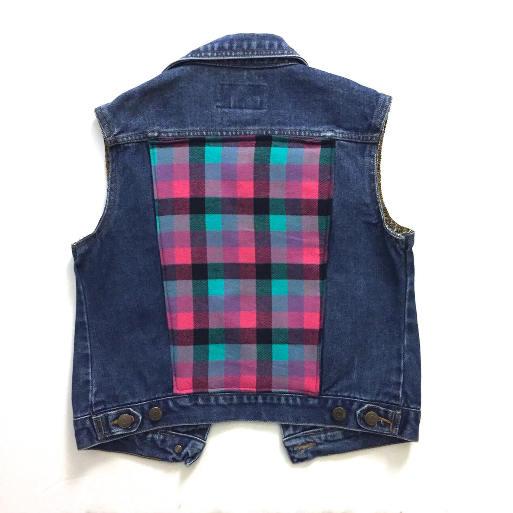 Plaid Denim Vest
