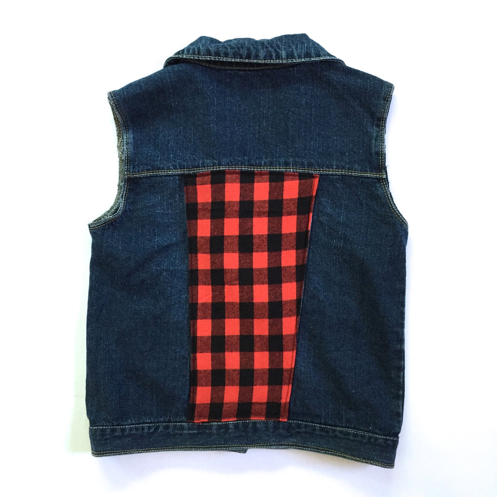 Buffalo Plaid Denim Vest
