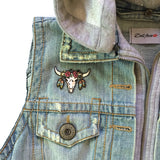Hooded Denim Vest with Patches