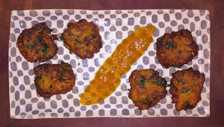 Carrot, Onion, and Spinach Bhajis