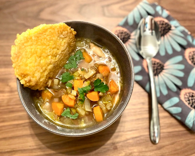 Chicken and Porcini Mushroom Soup with Turmeric and Sweet Smoked Paprika Rice Cakes