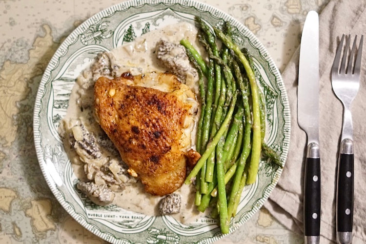 Morel Cream Sauce with Skillet Chicken and Pan Fried Asparagus