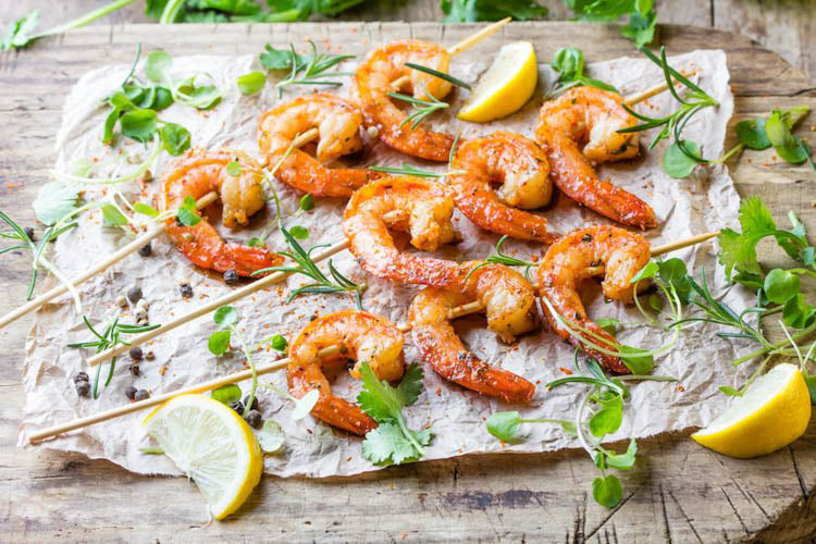Grilled Garlic Shrimp with Herbs