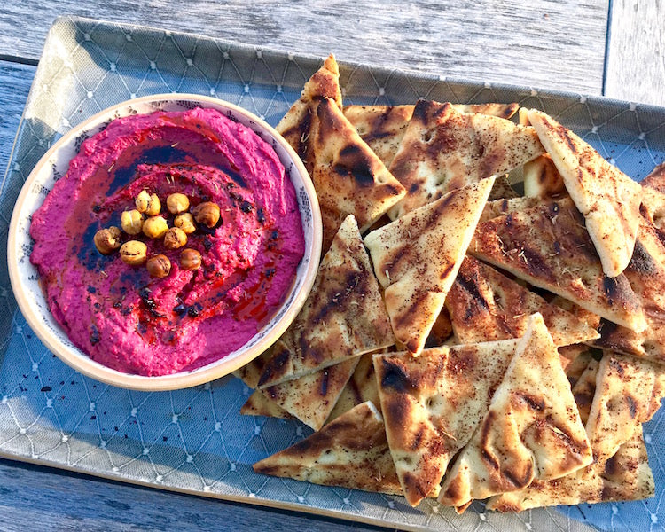 Roasted Beet Hummus with Urfa Infused Olive Oil and Syrian Za'atar Flatbread