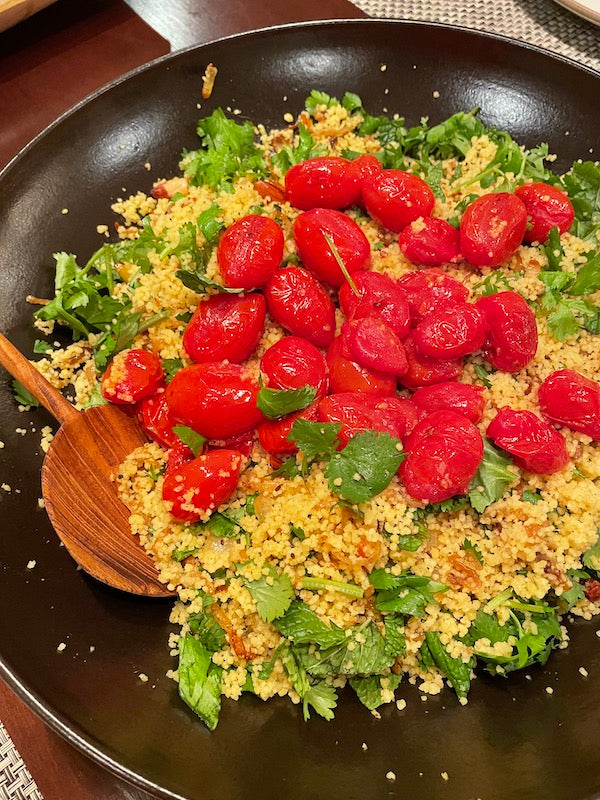 Couscous, Cherry Tomato, + Herb Salad with Ras el Hanout