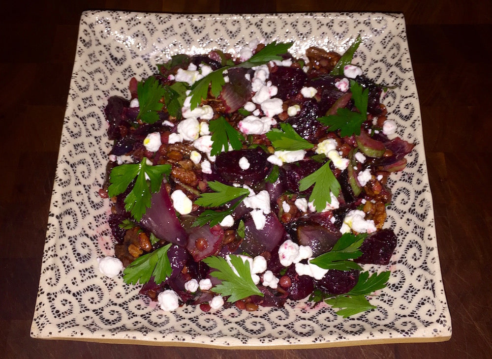 Roasted Beet, Lentil, and Goat Cheese Salad with Walnuts