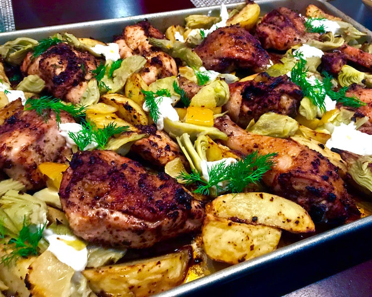 Roasted Harissa Chicken with Potatoes and Artichokes