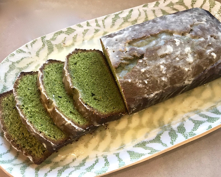 Matcha White Chocolate Pound Cake with Tangerine Glaze