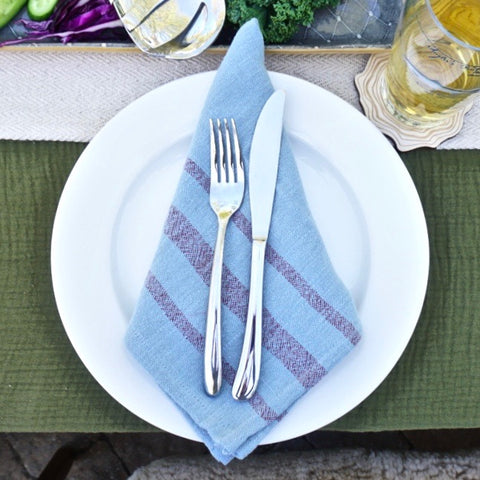 Blue Overdyed Napkins - Set 4
