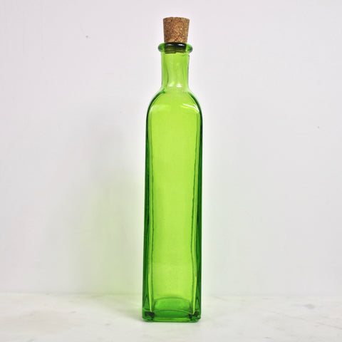 Recycled Glass Rectangle Bottle - Lime
