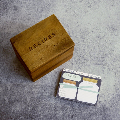 Acacia Recipe Box with Recipe Cards-Accessories-SKORDO