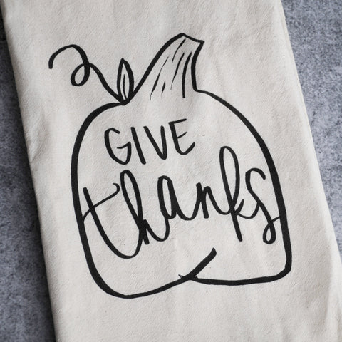"""Give Thanks"" Tea Towel-Accessories-SKORDO"