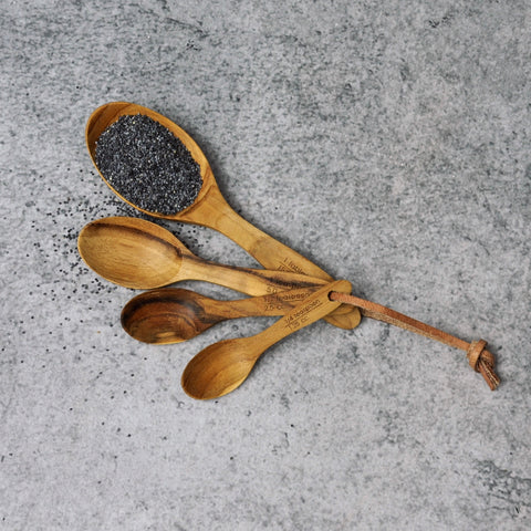 Long Teak Measuring Spoons-Accessories-SKORDO