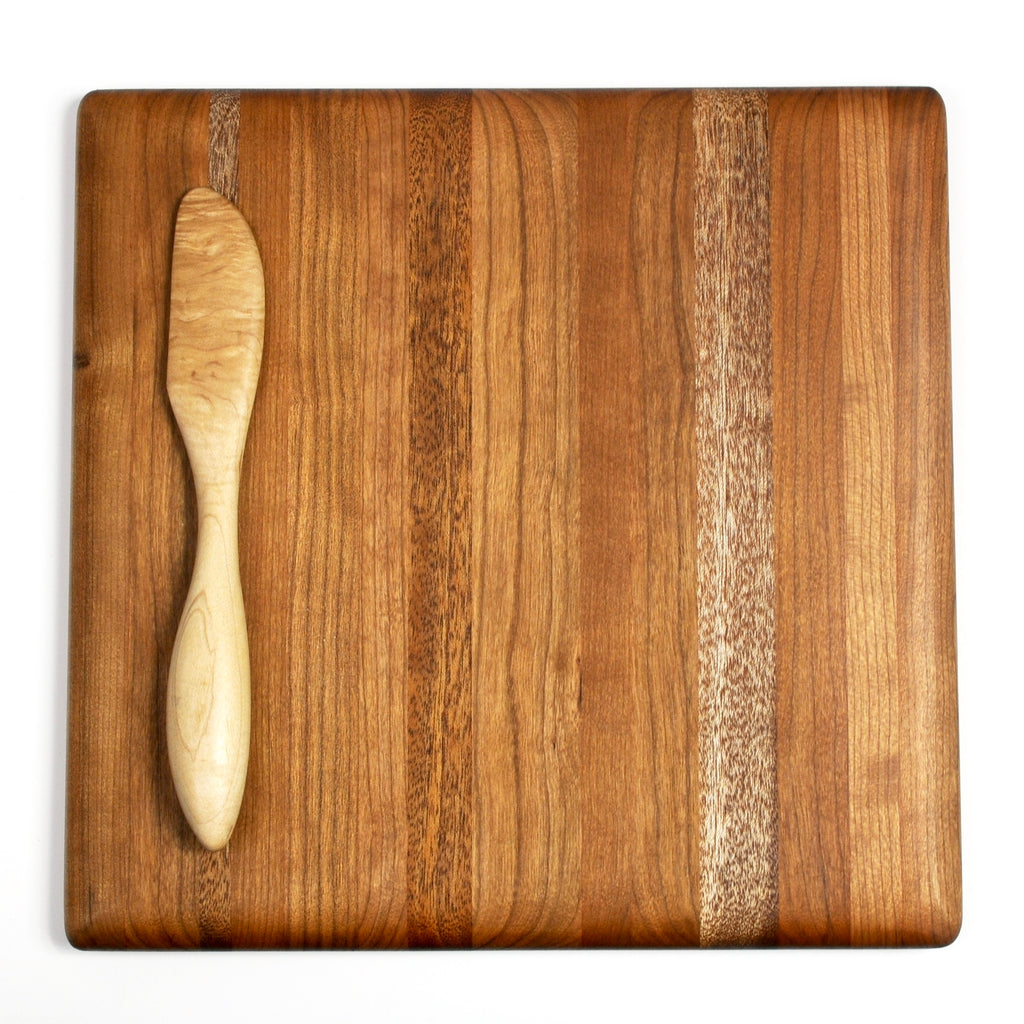 Square Serving Board - Cherry and Sapele