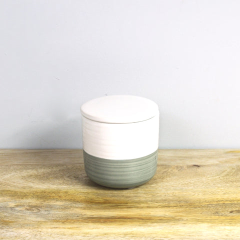 Gray and White Stoneware Container with Lid - Small
