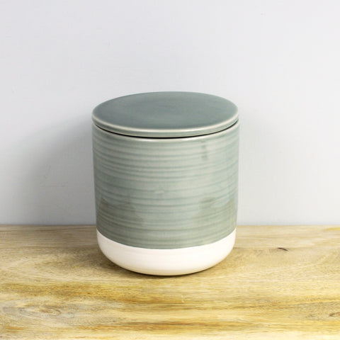 Gray and White Stoneware Container with Lid - Medium