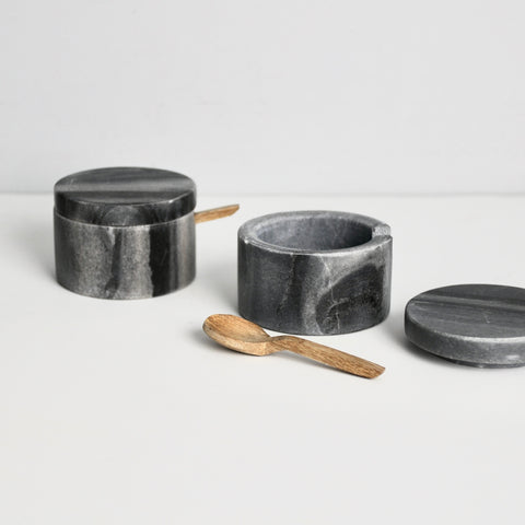 Gray Marble Lidded Cellar + Wood Spoon