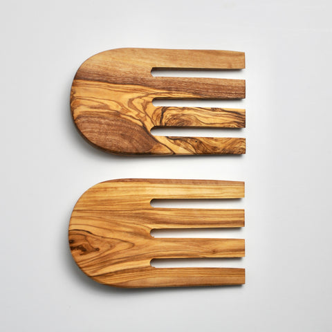 Olive Wood Salad Scoops